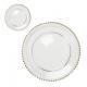 Plato pan cristal con borde de perlas de oro