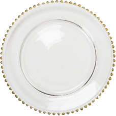 Bajo plato cristal con borde de perlas de oro